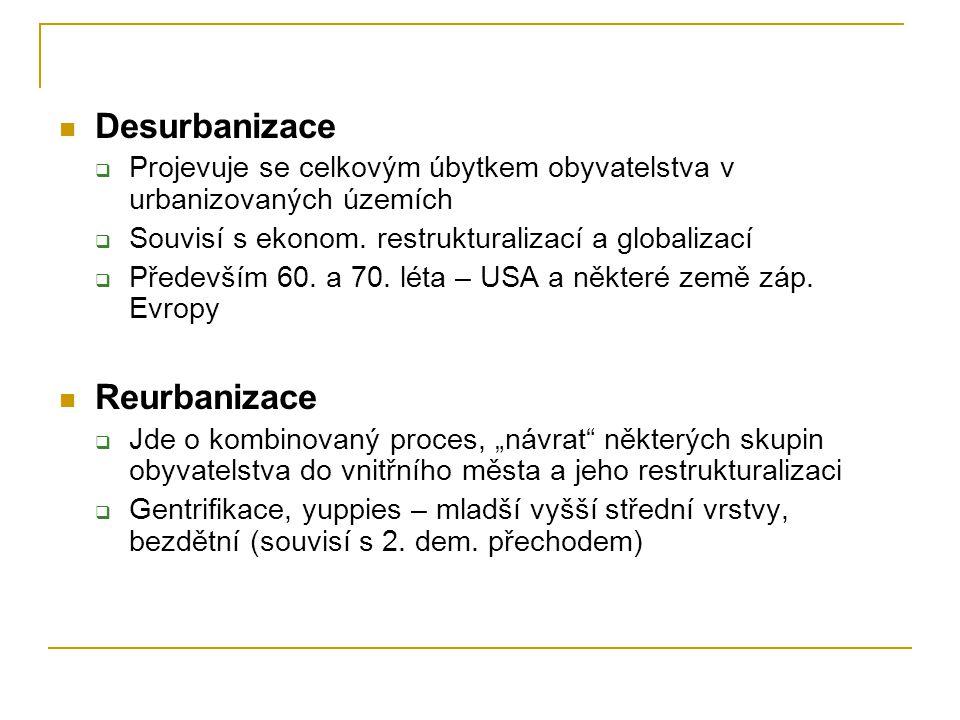 Desurbanizace  Projevuje se celkovým úbytkem obyvatelstva v urbanizovaných územích  Souvisí s ekonom.