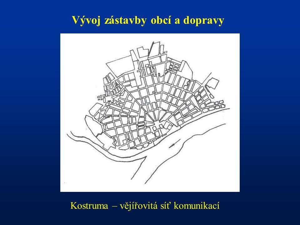 Vývoj zástavby obcí a dopravy Kostruma – vějířovitá síť komunikací
