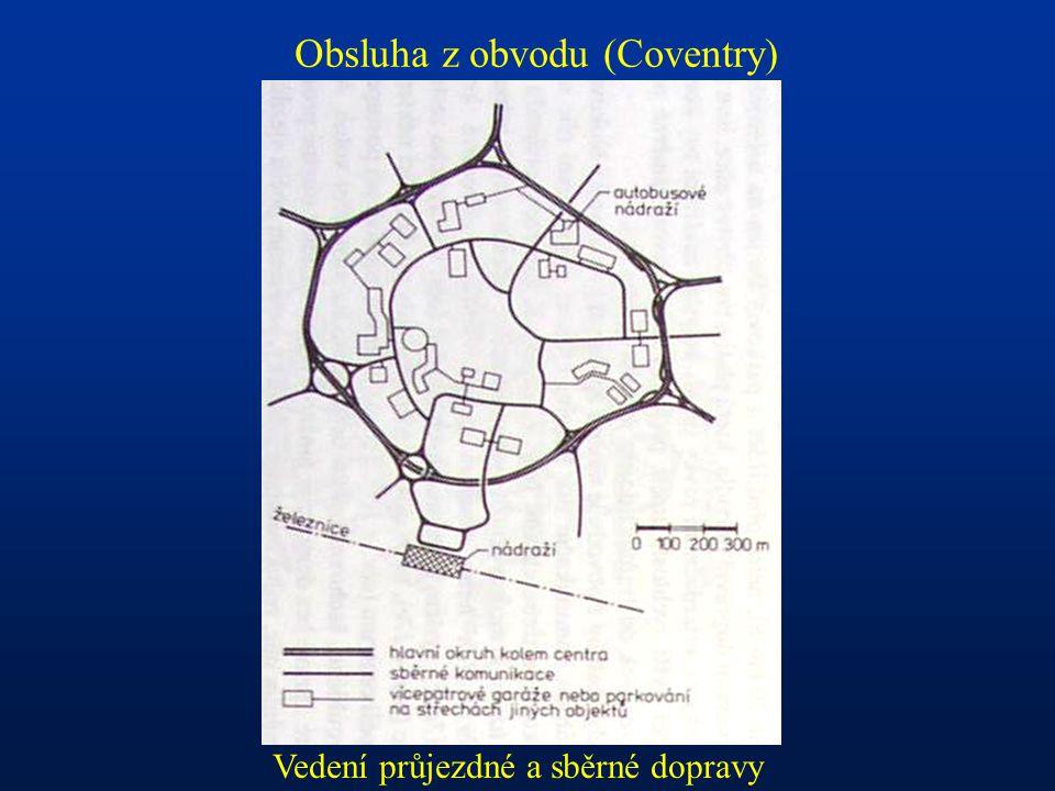 Obsluha z obvodu (Coventry) Vedení průjezdné a sběrné dopravy