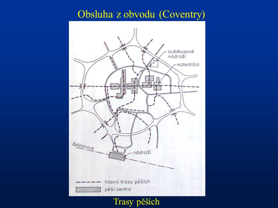 Obsluha z obvodu (Coventry) Trasy pěších