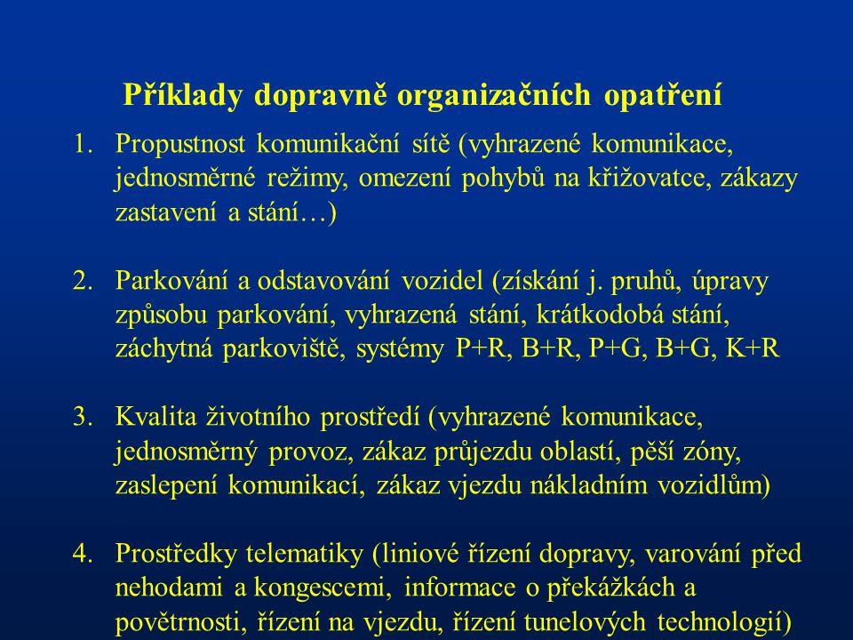 Příklady dopravně organizačních opatření 1.Propustnost komunikační sítě (vyhrazené komunikace, jednosměrné režimy, omezení pohybů na křižovatce, zákaz