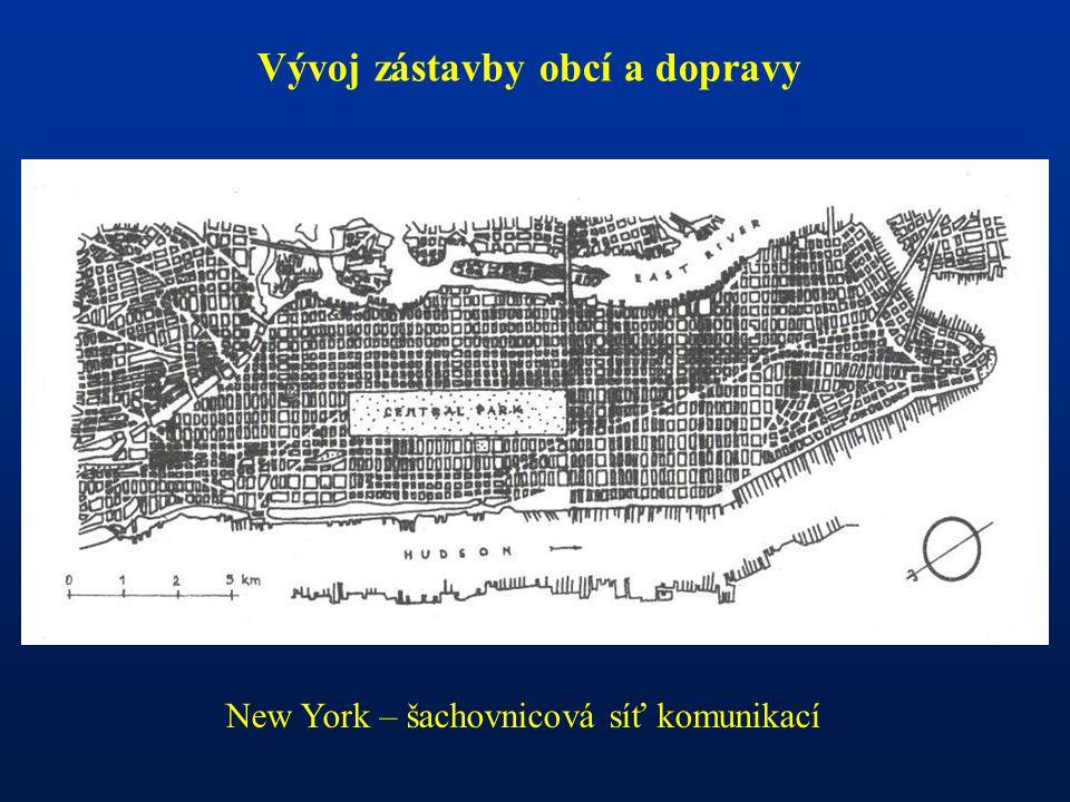 Vývoj zástavby obcí a dopravy New York – šachovnicová síť komunikací