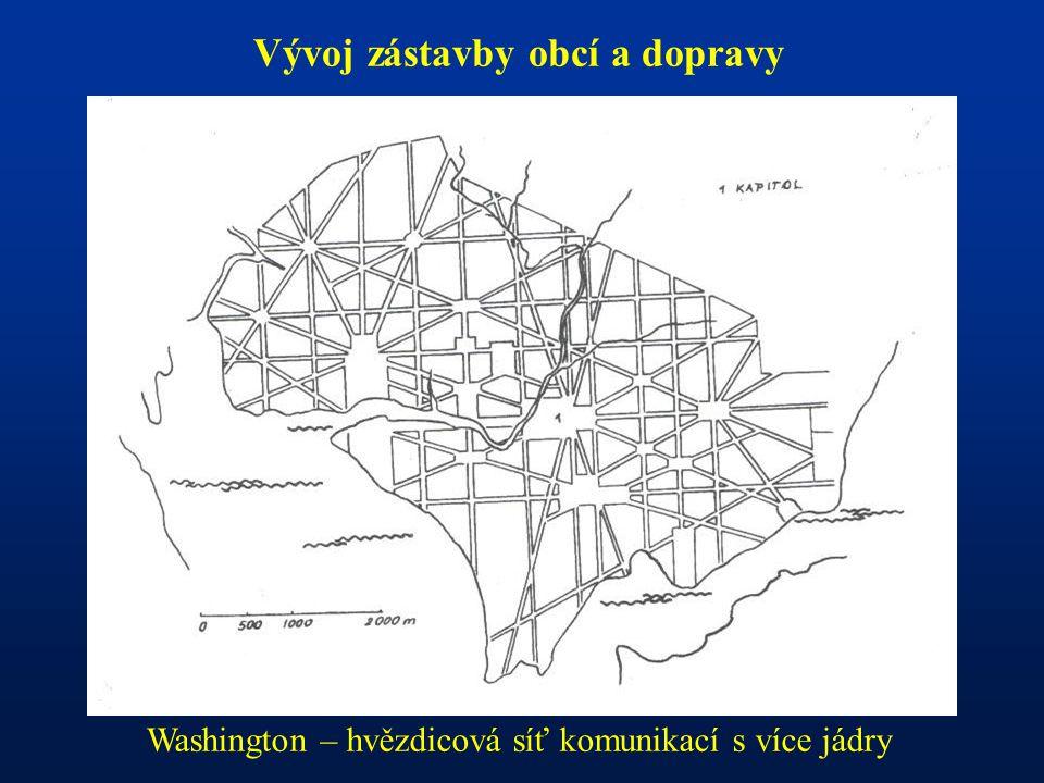 Vývoj zástavby obcí a dopravy Washington – hvězdicová síť komunikací s více jádry