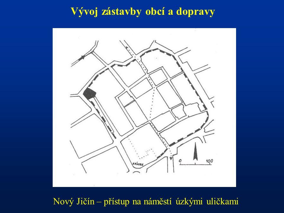 Vývoj zástavby obcí a dopravy Nový Jičín – přístup na náměstí úzkými uličkami