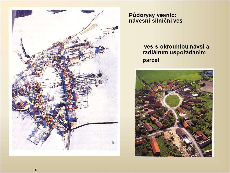 a ves s okrouhlou návsí a radiálním uspořádáním parcel Půdorysy vesnic: návesní silniční ves