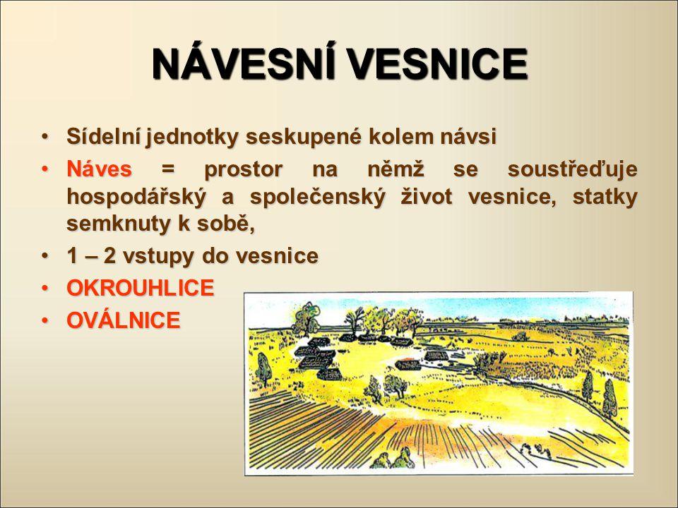 Typy vesnic podle půdorysu – pokračování ulicový typ: odrůda silnicovky, řazení stejné, není sil.