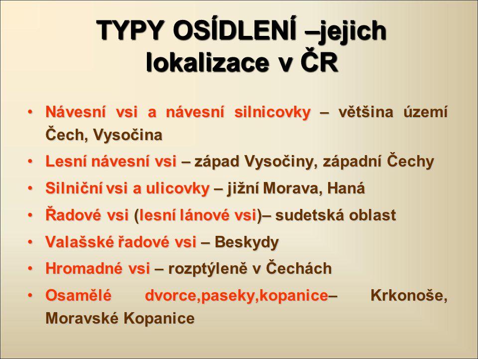 TYPY OSÍDLENÍ –jejich lokalizace v ČR Návesní vsi a návesní silnicovky – většina území Čech, VysočinaNávesní vsi a návesní silnicovky – většina území