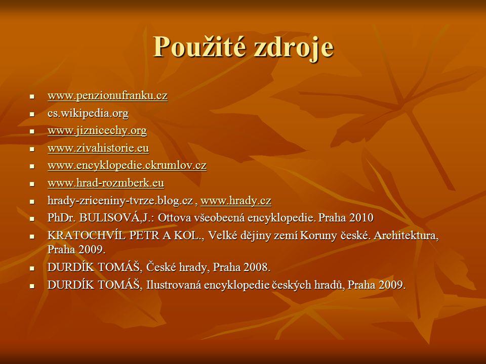 Použité zdroje www.penzionufranku.cz www.penzionufranku.cz www.penzionufranku.cz cs.wikipedia.org cs.wikipedia.org www.jiznicechy.org www.jiznicechy.o