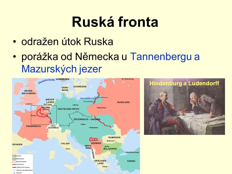 Ruská fronta odražen útok Ruska porážka od Německa u Tannenbergu a Mazurských jezer Hindenburg a Ludendorff