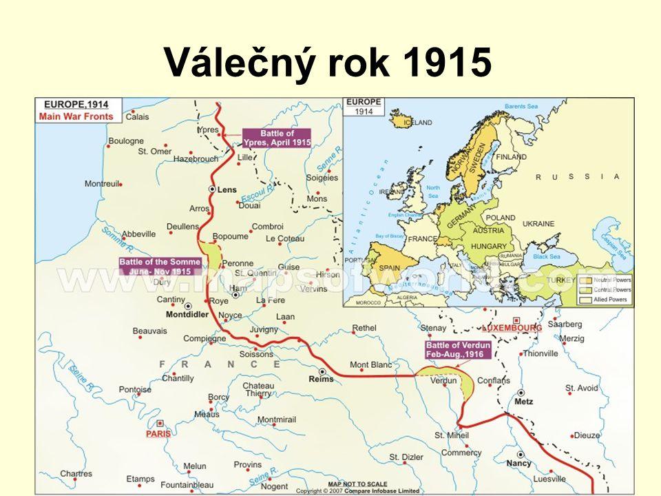Válečný rok 1915 Západní fronta zákopová válka útok Němců u Yper – chlór
