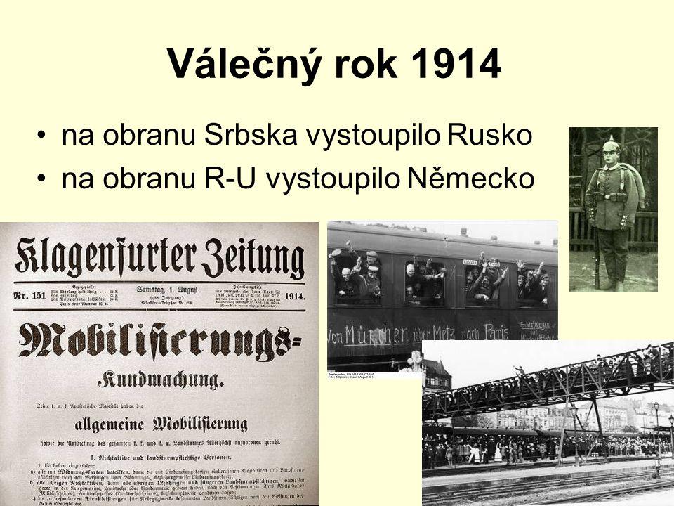 R-U napadlo Srbsko a Rusko Německo napadlo Francii a Rusko Rusko napadlo Německo a Rakousko - Uhersko