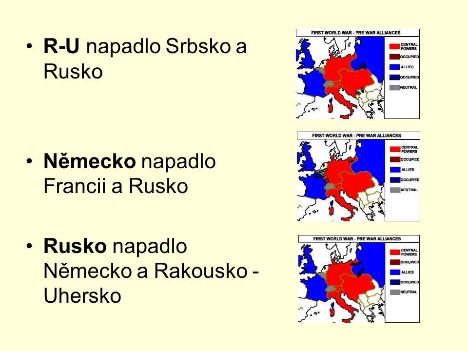 Srbská fronta na straně Německa a R-U vstoupilo do války Bulharsko slib území porážka Srbska