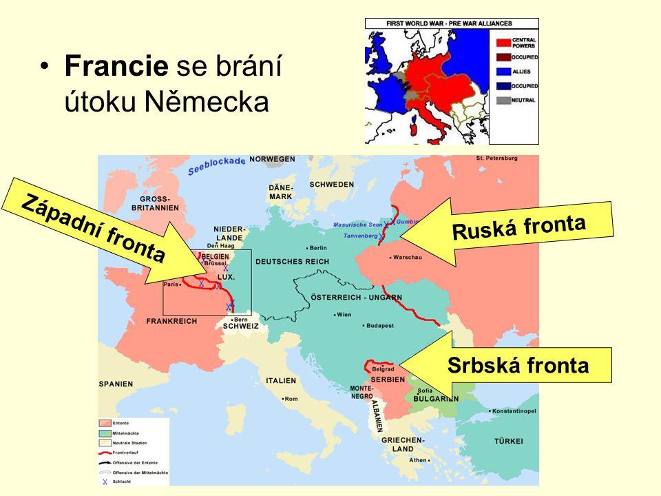 Francie se brání útoku Německa Západní fronta Ruská fronta Srbská fronta
