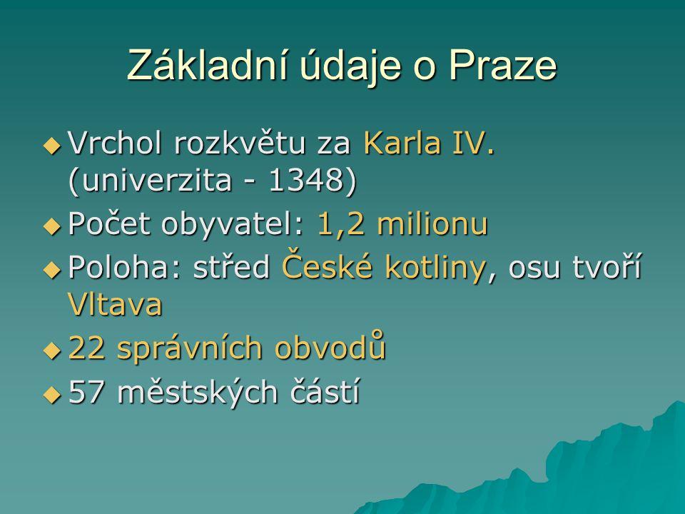 Základní údaje o Praze  Vrchol rozkvětu za Karla IV. (univerzita - 1348)  Počet obyvatel: 1,2 milionu  Poloha: střed České kotliny, osu tvoří Vltav