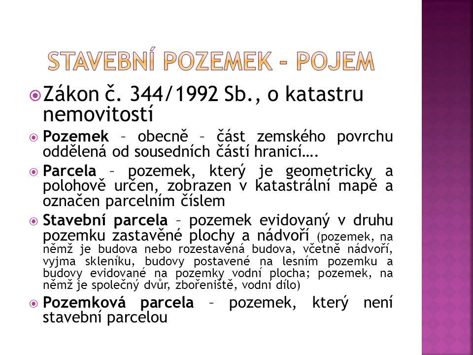  Zákon č.151/1997 Sb., o oceňování majetku  Stavební pozemek – 3 skupiny 1.