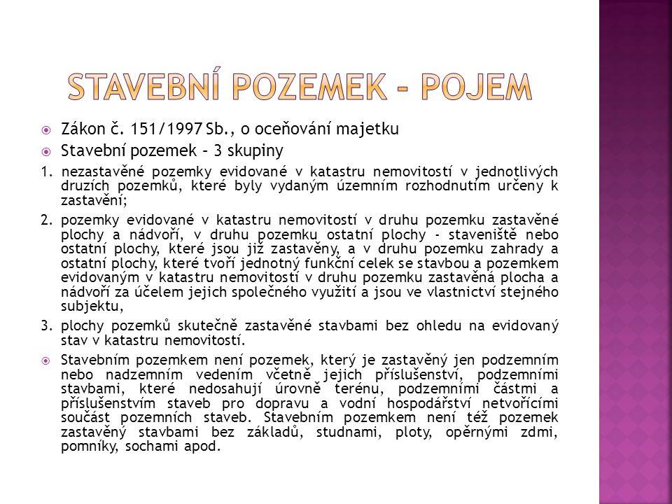  Zákon č. 151/1997 Sb., o oceňování majetku  Stavební pozemek – 3 skupiny 1.