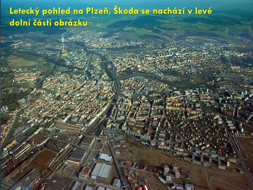 Letecký pohled na Plzeň, Škoda se nachází v levé dolní části obrázku