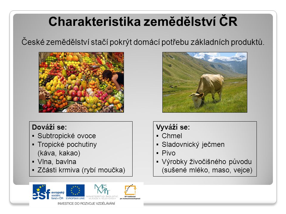 Charakteristika zemědělství ČR České zemědělství stačí pokrýt domácí potřebu základních produktů. Dováží se: ▪Subtropické ovoce ▪Tropické pochutiny (k