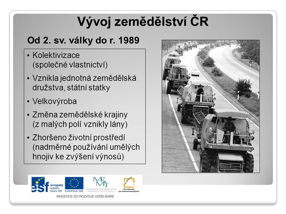 Vývoj zemědělství ČR ▪Kolektivizace (společné vlastnictví) ▪Vznikla jednotná zemědělská družstva, státní statky ▪Velkovýroba ▪Změna zemědělské krajiny