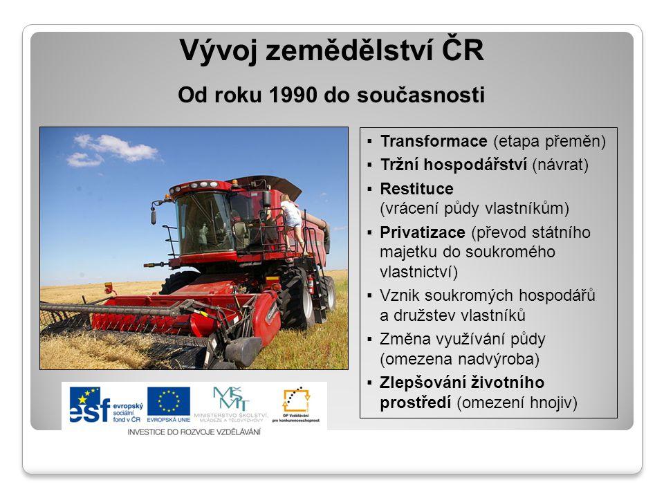 Vývoj zemědělství ČR ▪Transformace (etapa přeměn) ▪Tržní hospodářství (návrat) ▪Restituce (vrácení půdy vlastníkům) ▪Privatizace (převod státního maje