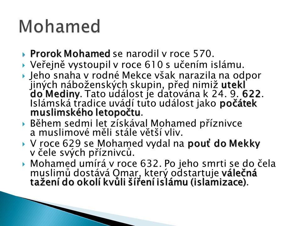  Prorok Mohamed  Prorok Mohamed se narodil v roce 570.  Veřejně vystoupil v roce 610 s učením islámu. utekl do Mediny622 počátek muslimského letopo