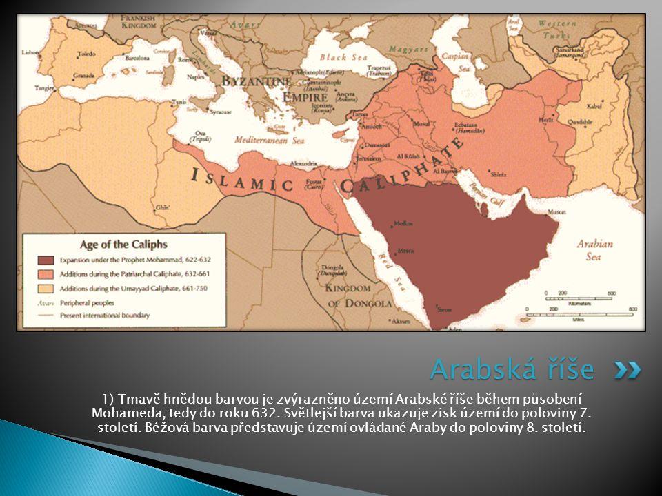 1) Tmavě hnědou barvou je zvýrazněno území Arabské říše během působení Mohameda, tedy do roku 632. Světlejší barva ukazuje zisk území do poloviny 7. s