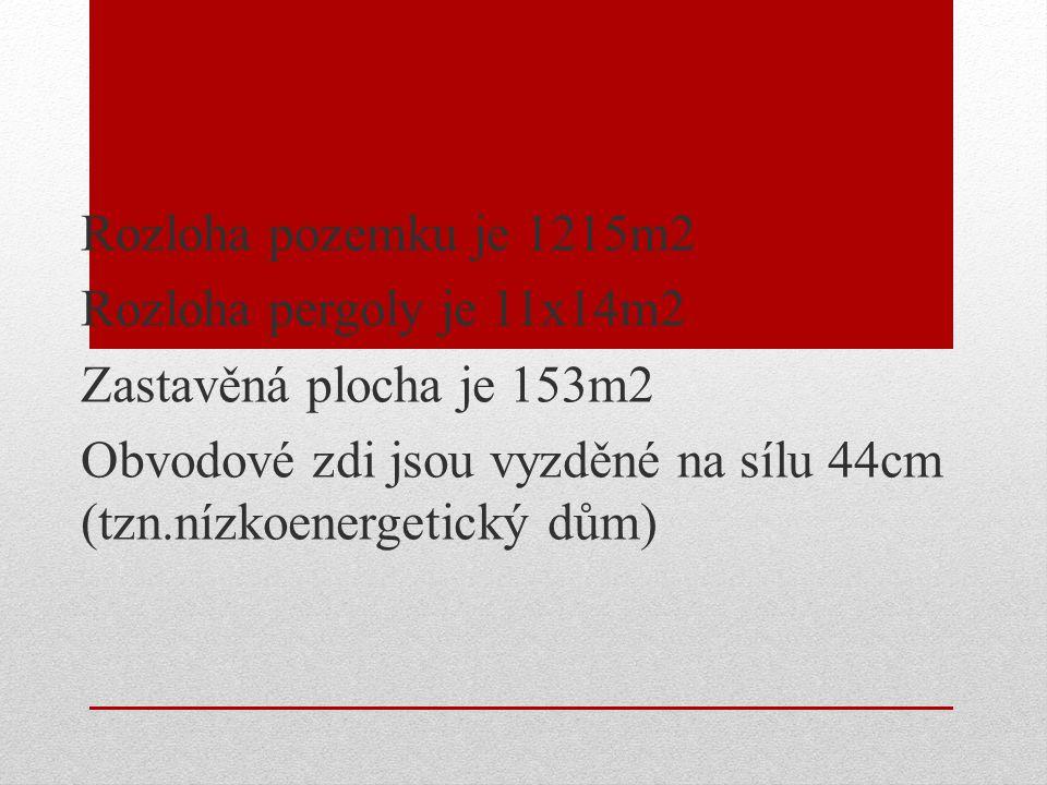 Rozloha pozemku je 1215m2 Rozloha pergoly je 11x14m2 Zastavěná plocha je 153m2 Obvodové zdi jsou vyzděné na sílu 44cm (tzn.nízkoenergetický dům)