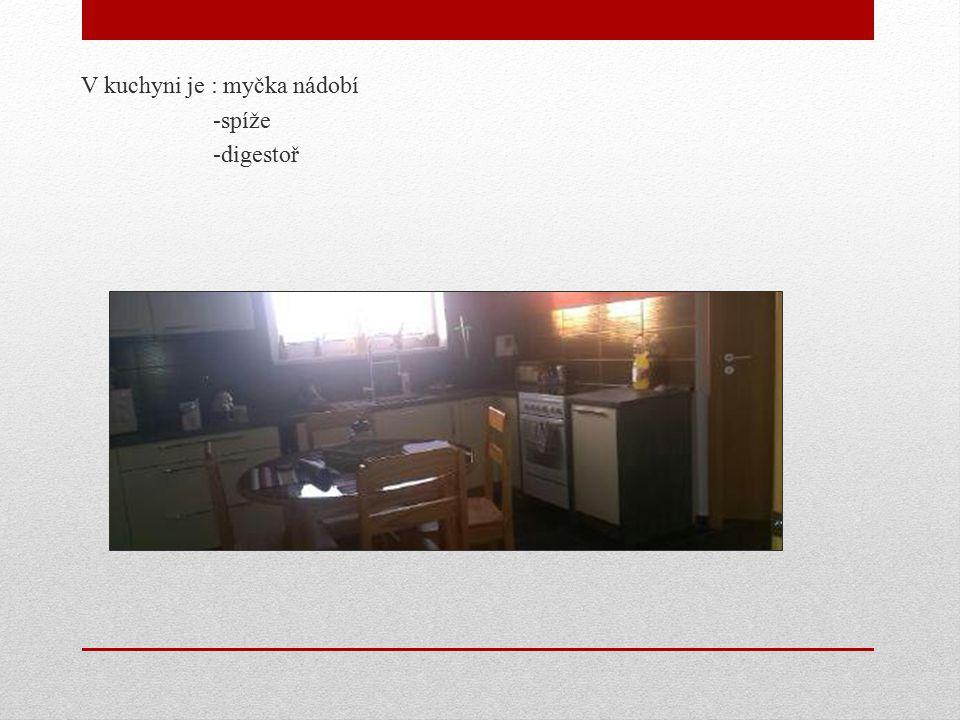 V kuchyni je : myčka nádobí -spíže -digestoř