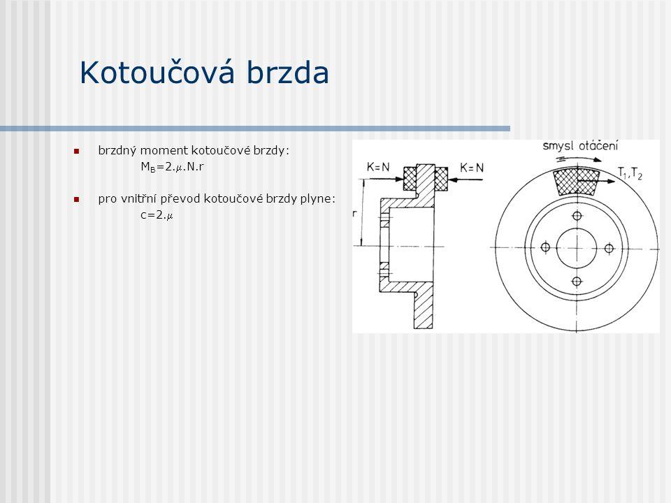 Kotoučová brzda brzdný moment kotoučové brzdy: M B =2..N.r pro vnitřní převod kotoučové brzdy plyne: c=2.