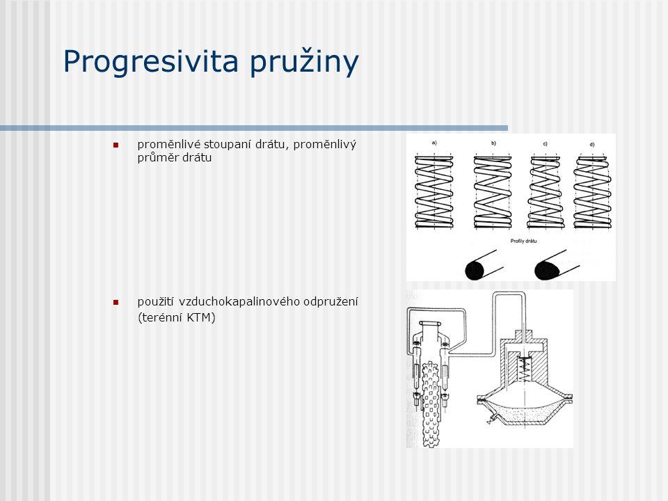 Progresivita pružiny proměnlivé stoupaní drátu, proměnlivý průměr drátu použití vzduchokapalinového odpružení (terénní KTM)