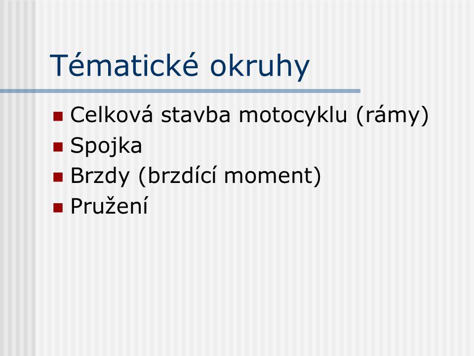 Tématické okruhy Celková stavba motocyklu (rámy) Spojka Brzdy (brzdící moment) Pružení