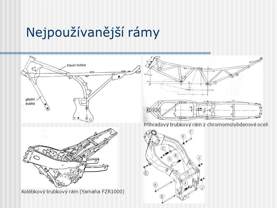 Nejpoužívanější rámy Příhradový trubkový rám z chromomolybdenové oceli Kolébkový trubkový rám (Yamaha FZR1000)
