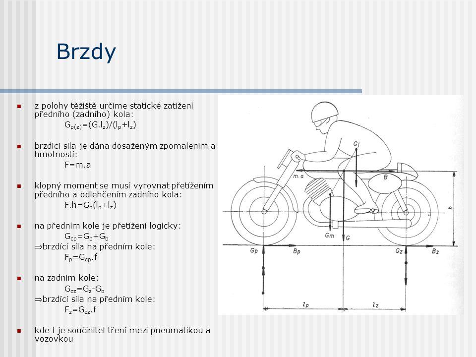 Brzdy z polohy těžiště určíme statické zatížení předního (zadního) kola: G p(z) =(G.l z )/(l p +l z ) brzdící síla je dána dosaženým zpomalením a hmot