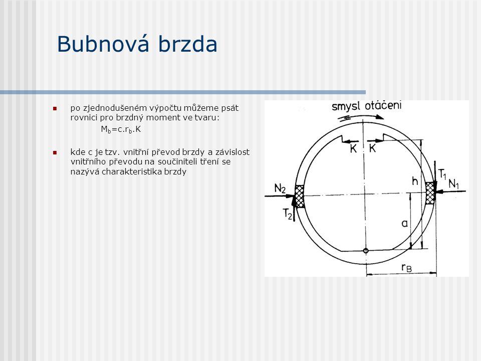 Bubnová brzda po zjednodušeném výpočtu můžeme psát rovnici pro brzdný moment ve tvaru: M b =c.r b.K kde c je tzv. vnitřní převod brzdy a závislost vni