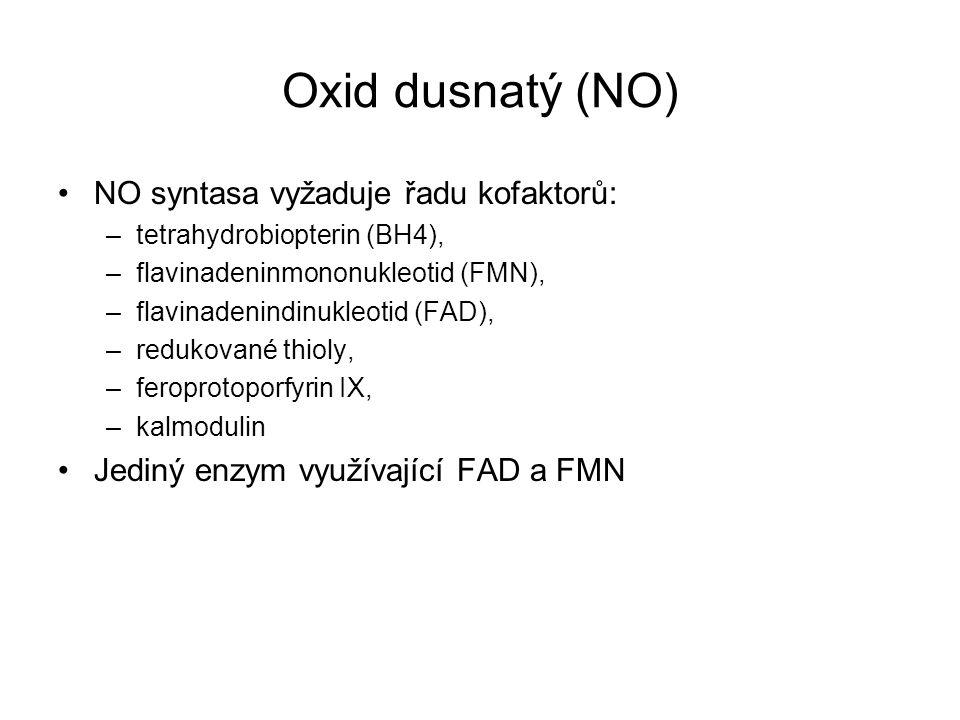 Oxid dusnatý (NO) NO syntasa vyžaduje řadu kofaktorů: –tetrahydrobiopterin (BH4), –flavinadeninmononukleotid (FMN), –flavinadenindinukleotid (FAD), –r