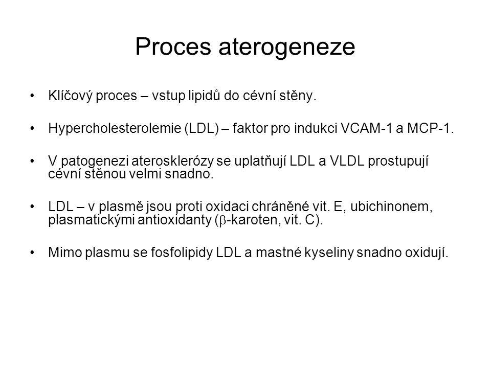 Proces aterogeneze Klíčový proces – vstup lipidů do cévní stěny. Hypercholesterolemie (LDL) – faktor pro indukci VCAM-1 a MCP-1. V patogenezi ateroskl