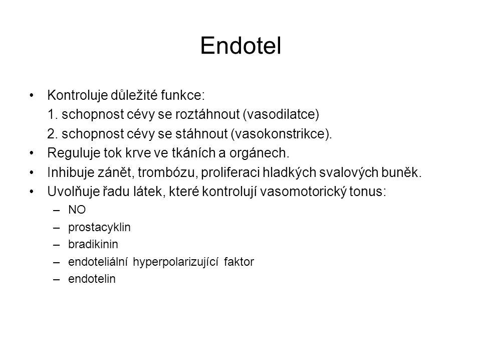 Endotel Kontroluje důležité funkce: 1. schopnost cévy se roztáhnout (vasodilatce) 2. schopnost cévy se stáhnout (vasokonstrikce). Reguluje tok krve ve