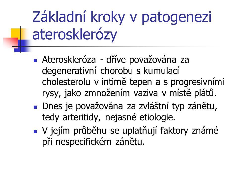 Základní kroky v patogenezi aterosklerózy Ateroskleróza - dříve považována za degenerativní chorobu s kumulací cholesterolu v intimě tepen a s progres