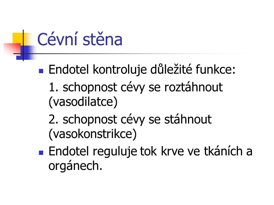 Cévní stěna Endotel kontroluje důležité funkce: 1. schopnost cévy se roztáhnout (vasodilatce) 2. schopnost cévy se stáhnout (vasokonstrikce) Endotel r