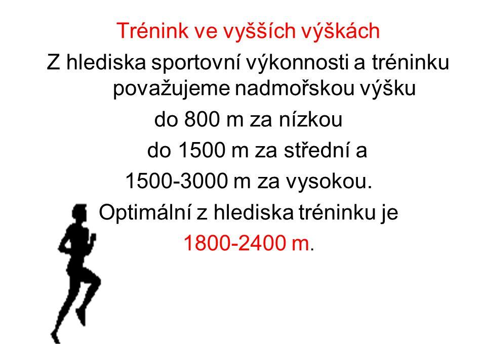 Trénink ve vyšších výškách Z hlediska sportovní výkonnosti a tréninku považujeme nadmořskou výšku do 800 m za nízkou do 1500 m za střední a 1500-3000 m za vysokou.