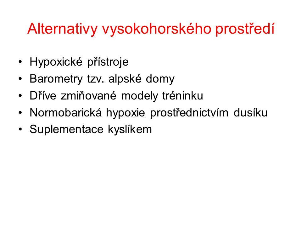 Alternativy vysokohorského prostředí Hypoxické přístroje Barometry tzv.