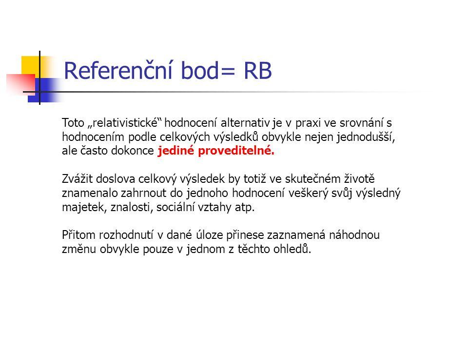 """Referenční bod= RB Toto """"relativistické hodnocení alternativ je v praxi ve srovnání s hodnocením podle celkových výsledků obvykle nejen jednodušší, ale často dokonce jediné proveditelné."""
