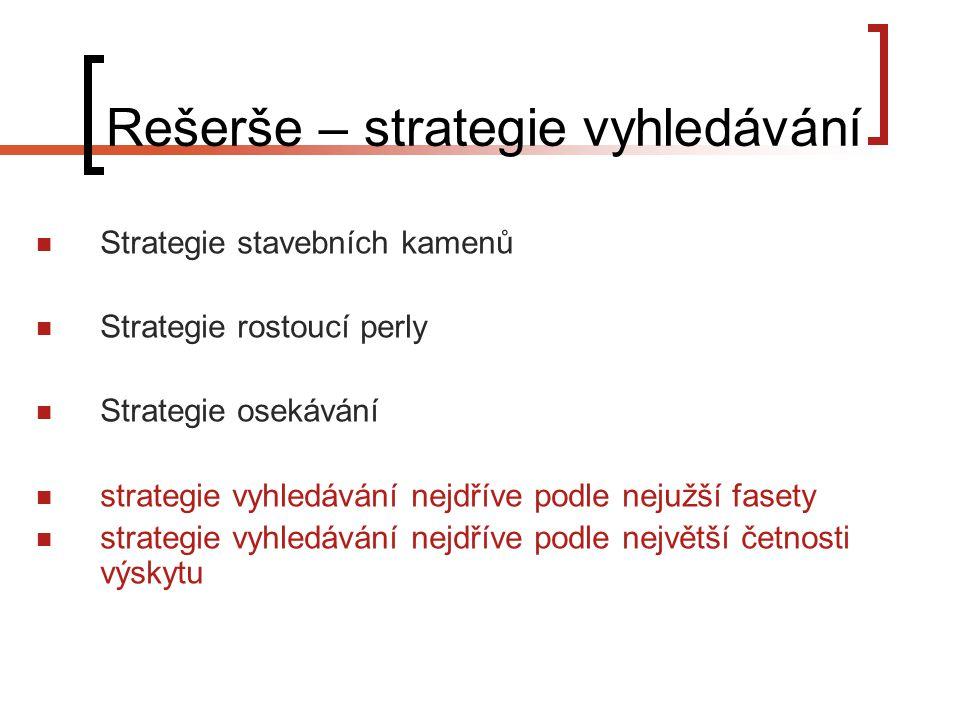 Rešerše – strategie vyhledávání Strategie stavebních kamenů Strategie rostoucí perly Strategie osekávání strategie vyhledávání nejdříve podle nejužší fasety strategie vyhledávání nejdříve podle největší četnosti výskytu