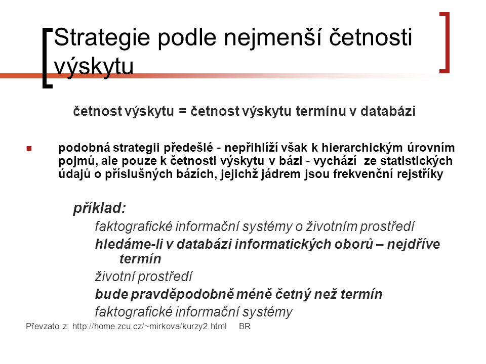 Strategie podle nejmenší četnosti výskytu četnost výskytu = četnost výskytu termínu v databázi podobná strategii předešlé - nepřihlíží však k hierarchickým úrovním pojmů, ale pouze k četnosti výskytu v bázi - vychází ze statistických údajů o příslušných bázích, jejichž jádrem jsou frekvenční rejstříky příklad: faktografické informační systémy o životním prostředí hledáme-li v databázi informatických oborů – nejdříve termín životní prostředí bude pravděpodobně méně četný než termín faktografické informační systémy Převzato z: http://home.zcu.cz/~mirkova/kurzy2.html BR