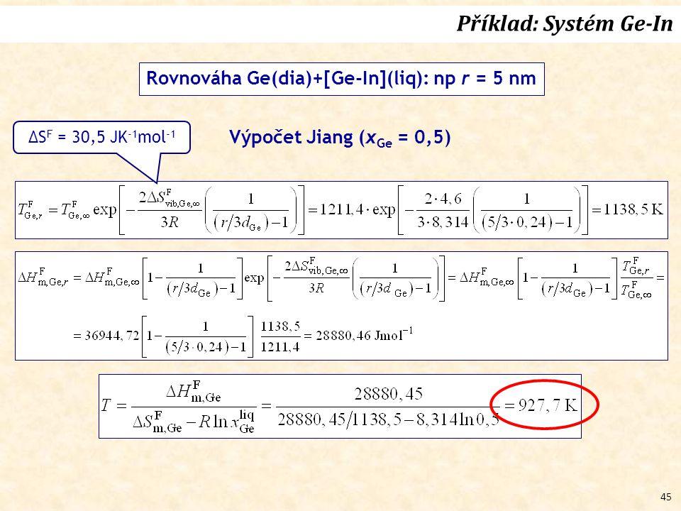 45 Rovnováha Ge(dia)+[Ge-In](liq): np r = 5 nm Výpočet Jiang (x Ge = 0,5) Příklad: Systém Ge-In ΔS F = 30,5 JK -1 mol -1