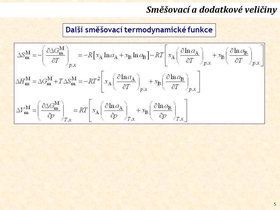 5 Směšovací a dodatkové veličiny Další směšovací termodynamické funkce
