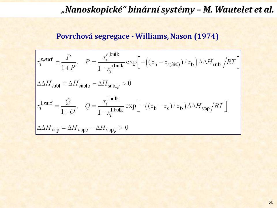 """50 """"Nanoskopické binární systémy – M. Wautelet et al. Povrchová segregace - Williams, Nason (1974)"""