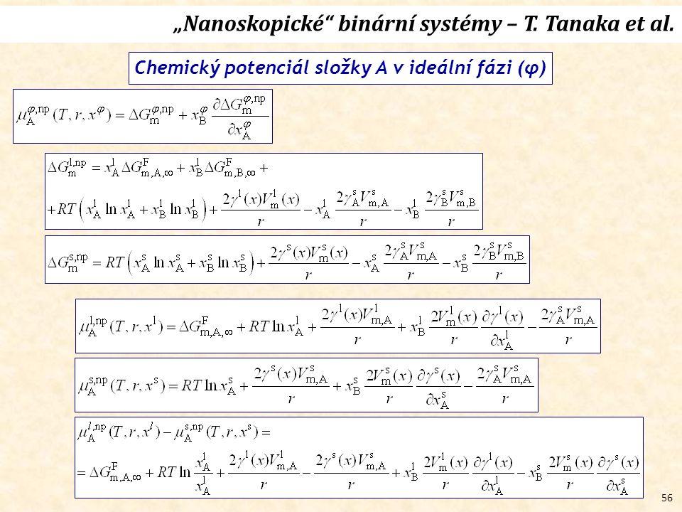 """56 """"Nanoskopické binární systémy – T. Tanaka et al. Chemický potenciál složky A v ideální fázi (φ)"""
