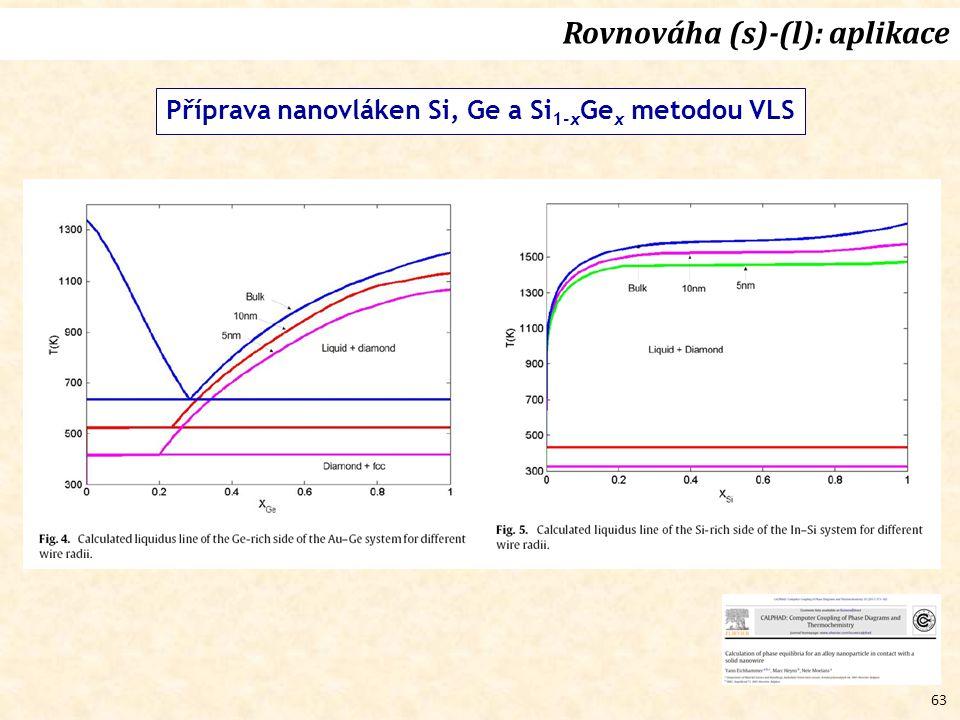 63 Rovnováha (s)-(l): aplikace Příprava nanovláken Si, Ge a Si 1-x Ge x metodou VLS