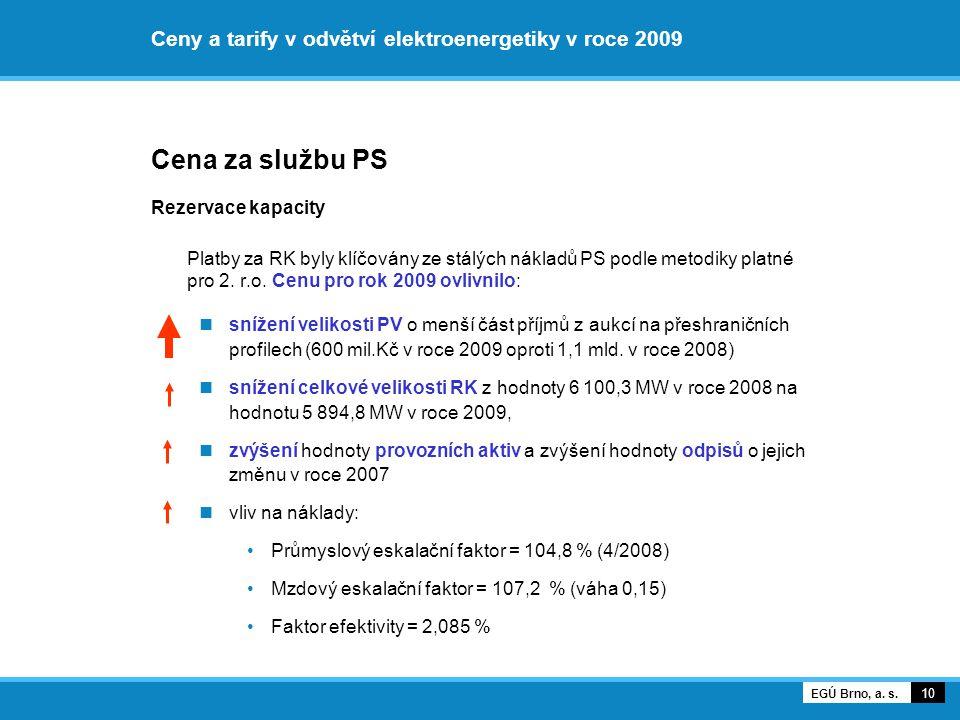 Ceny a tarify v odvětví elektroenergetiky v roce 2009 Cena za službu PS Rezervace kapacity Platby za RK byly klíčovány ze stálých nákladů PS podle met